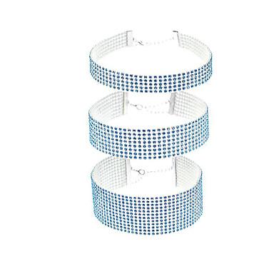 baratos Bijuteria de Mulher-Mulheres Gargantilhas Luxo Imitações de Diamante Prata Arco-íris Azul Claro 30 cm Colar Jóias 3pçs Para Casamento Bandagem