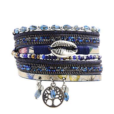 abordables Bracelet-Breloque Charms Bracelet Bracelets Plusieurs Tours Bracelets en cuir Femme Multirang Cuir Forme de Feuille arbre de la vie Naturel Branché Mode Bohème Coloré Bracelet Bijoux Bleu pour Cadeau