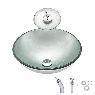 Kylpyhuoneen allas / kylpyhuoneen asennusrengas / kypyhuoneen vedenpoisto Nykyaikainen - Karkaistu lasi Pyöreä Vessel Sink