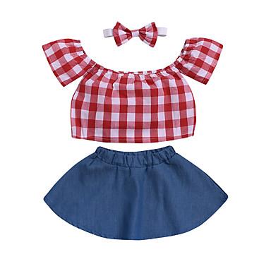 1d29830a669 Χαμηλού Κόστους Βρεφικά σετ ρούχων-Μωρό Κοριτσίστικα Βασικό / Κομψό στυλ  street Μονόχρωμο Εξώπλατο Κοντομάνικο