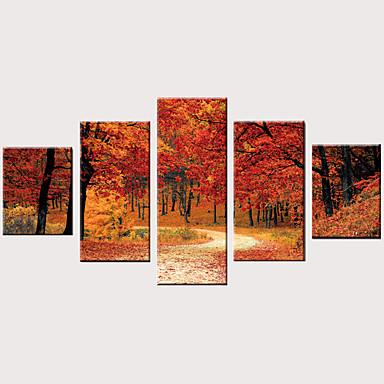 billige Trykk-Trykk Valset lerretskunst Strukket Lerret Trykk - Fotografisk Moderne Vintage Moderne Fem Paneler Kunsttrykk