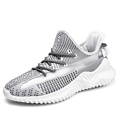 Men's Comfort Shoes Knit Fall / Spring & Summer Sporty / Preppy Athletic Shoes Running Shoes Breathable Color Block White / Black / Gray