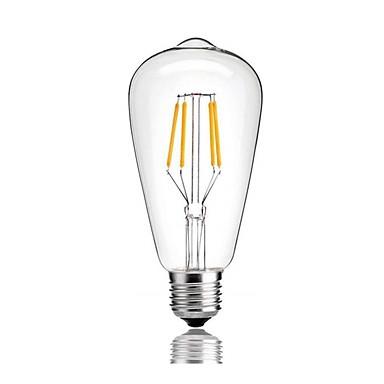 billige Elpærer-1pc 4 W LED-glødepærer 360 lm E26 / E27 ST64 4 LED perler COB Mulighet for demping Varm hvit Kjølig hvit Naturlig hvit 220-240 V