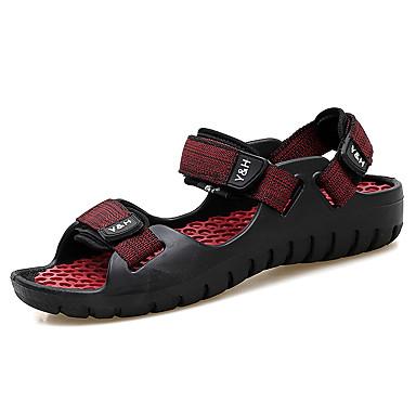 رخيصةأون Summer Sales-رجالي أحذية الراحة جلد للربيع والصيف بريطاني / شيك صنادل متنفس أسود / أحمر / كاكي / أسود وأصفر.