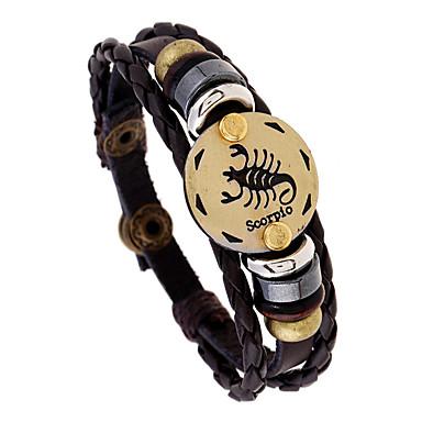 voordelige Herensieraden-Heren Vintage Armbanden Gevlochten Schorpioen Punk Leder Armband sieraden Koffie Voor Lahja Dagelijks