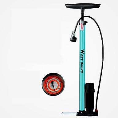 abordables Accessoires de Vélo-WEST BIKING® Pompes à vélo Pompe à pied pour vélo avec jauge Portable Poids Léger Durable Haute Pression Inflation Précise Pour Vélo de Route Vélo tout terrain / VTT Cyclisme Alliage d'acier Bleu