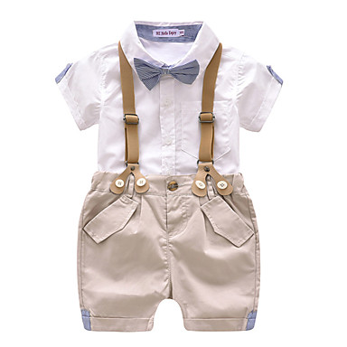 72168bbde48c9 Baby Boys' Vintage / Basic Solid Colored Bow / Criss Cross Short Sleeve  Regular Regular Cotton Clothing Set White / Toddler