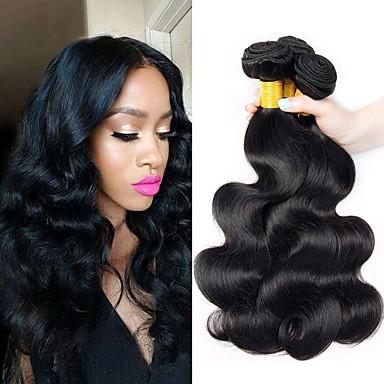 3 pakettia Brasilialainen Runsaat laineet Remy-hius Hiukset kutoo Pidentäjä Bundle Hair 8-28 inch Luonnollinen väri Hiukset kutoo Luova Silkkinen Turvallisuus Hiukset Extensions Naisten