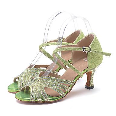 baratos Super Ofertas-Mulheres Sapatos de Dança Sintéticos Sapatos de Dança Latina Recortes Salto Salto Carretel Personalizável Verde / Dourado / Prata / Espetáculo / Couro