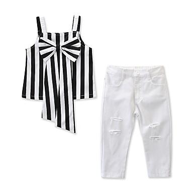 51d1bb6ff7fde abordables Vêtements pour Filles-Enfants   Bébé Fille Actif   Basique Rayé  Noeud Sans Manches