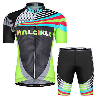 Malciklo Boys' Girls' Short Sleeve Cycling Jersey with Shorts - Black Animal Bike Breathable Sports Floral / Botanical Clothing Apparel / Stretchy