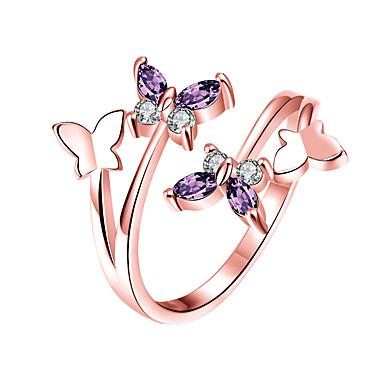 halpa Sormukset-Naisten Valkoinen Band Ring Sormus Kokosormen sormus Platinum Plated Ruusukulta-päällystetty Timanttijäljitelmä Butterfly Tyylikäs Yksinkertainen Eurooppalainen Korea Muotisormukset Korut Hopea