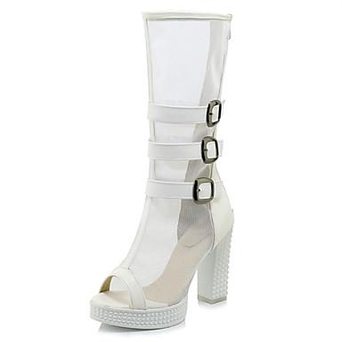 cd94e773d81b Women s Mesh   Microfiber Spring   Summer Boots Chunky Heel Peep Toe White    Black   Party   Evening