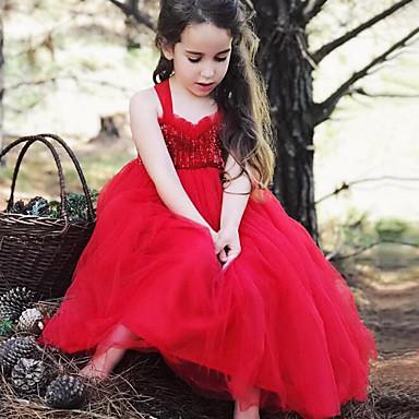 bcdbdaa0fb6 Μωρό Κοριτσίστικα Ενεργό / Κομψό στυλ street Patchwork Πούλιες / Με Βολάν /  Patchwork Αμάνικο Πολυεστέρας Φόρεμα Λευκό