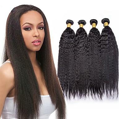 baratos Extensões de Cabelo Natural-4 pacotes Cabelo Brasileiro Kinky Liso Cabelo Virgem Cabelo Humano Ondulado Cabelo Bundle Um Pacote de Solução 8-28inch Côr Natural Tramas de cabelo humano Fofinho Segurança Fofo Extensões de cabelo