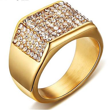 voordelige Heren Ring-Heren Kubieke Zirkonia Klassiek Ring Titanium Staal Gypsophila Stijlvol Modieuze ringen Sieraden Goud Voor Feest Dagelijks 7 / 8 / 9 / 10 / 11