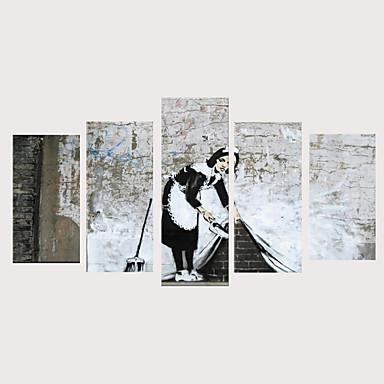abordables Toiles-Imprimé Impressions sur toile roulées Impression sur Toile - Personnage Réalisme Rétro Vintage Moderne Cinq Panneaux Art Prints