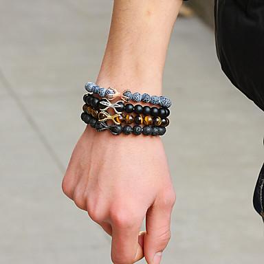 abordables Bracelet-Bracelet à Perles Bracelets Vintage Bracelet Homme Femme Perles Pétale Pois Gourde simple Luxe Branché Mode Elégant Bracelet Bijoux Gris Marron Bleu pour Noël Mariage Soirée Cadeau Carnaval