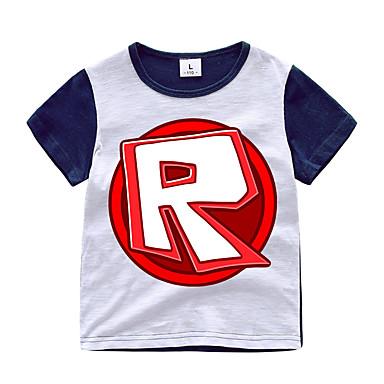 baratos Camisas para Meninos-Infantil Para Meninos Activo Básico Estampado Patchwork Estampado Manga Curta Algodão Camiseta Laranja