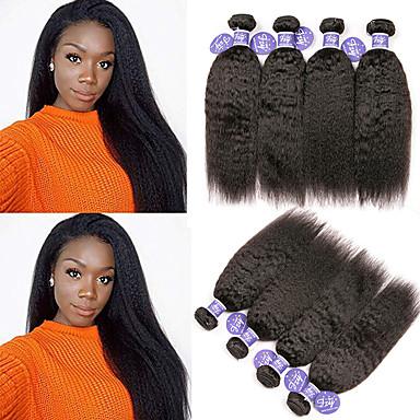 baratos Extensões de Cabelo Natural-4 pacotes Cabelo Malaio Yaki Liso Não processado Cabelo Natural 100% Remy Hair Weave Bundles Peça para Cabeça Cabelo Humano Ondulado Cabelo Bundle 8-28 polegada Natural Tramas de cabelo humano