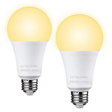 zdm 2ピース9ワットフリッカーled電球60ワット相当3000 k 6000 k日光ホワイトe26 / e27ミディアムネジベース電球450lumens非調光ac110v / ac220v