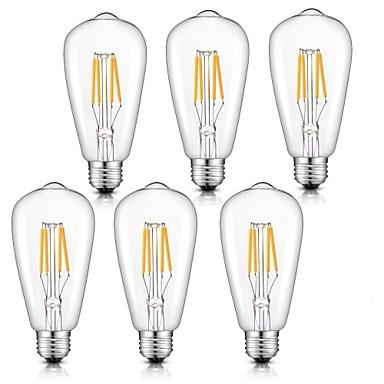 billige Elpærer-6pcs 4 W LED-glødepærer 360 lm E26 / E27 ST64 4 LED perler COB Mulighet for demping Varm hvit Kjølig hvit Naturlig hvit 220-240 V
