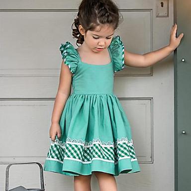 f250c8f9ccd Μωρό Κοριτσίστικα Ενεργό / Κομψό στυλ street Patchwork Με Βολάν / Patchwork  Αμάνικο Ρεϊγιόν Φόρεμα Πράσινο του τριφυλλιού
