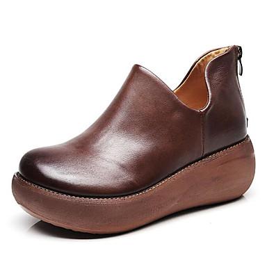 povoljno Ženske čizme-Žene Mekana koža Jesen Čizme Creepersice Čizme gležnjače / do gležnja Crn / Braon