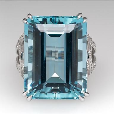 voordelige Dames Sieraden-Dames Ring Synthetische Aquamarijn 1pc Lichtblauw Koper Geometrische vorm Stijlvol Feest Dagelijks Sieraden Klassiek Vreugde Cool