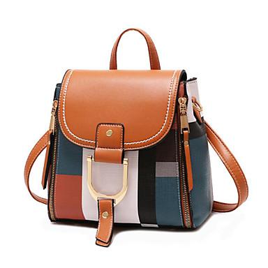 povoljno Ruksaci-Žene Patent-zatvarač ruksak PU Color block žuta / Crvena / Crno-bijeli / Jesen zima