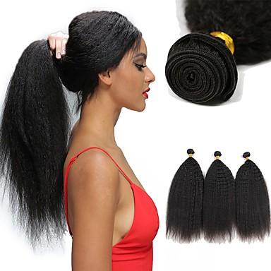 baratos Extensões de Cabelo Natural-6 pacotes Cabelo Brasileiro Yaki Yaki Liso Cabelo Virgem 100% Remy Hair Weave Bundles Cabelo Humano Ondulado Cabelo Bundle Um Pacote de Solução 8-28 polegada Côr Natural Tramas de cabelo humano