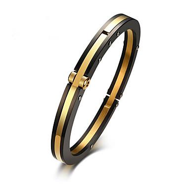 baratos Bijuteria de Mulher-Homens Bracelete Clássico Alegria Estiloso Aço Titânio Pulseira de jóias Dourado Para Festa Diário