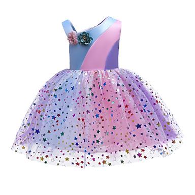 Χαμηλού Κόστους Φορέματα για κορίτσια-Παιδιά Νήπιο Κοριτσίστικα Βασικό Γλυκός Φλοράλ Ουράνιο Τόξο Patchwork Πούλιες Patchwork Αμάνικο Ως το Γόνατο Πολυεστέρας Φόρεμα Πορτοκαλί