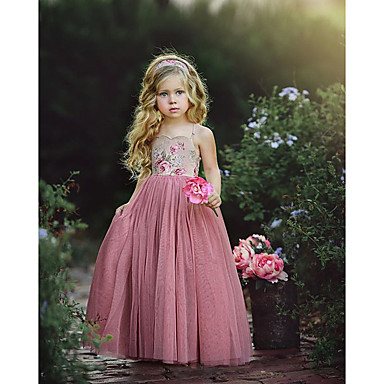 billige Pigekjoler m. print-Børn Baby Pige Sød Sød Stil Dusty Rose Geometrisk Farveblok Blondér Trykt mønster Uden ærmer Kjole Lyserød