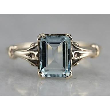 Dámské Fuchsiová Křišťál Solitaire Prsten Zásnubní prsten Postříbřené Pozlacené Vintage Fashion Ring Šperky Modrá Pro Svatební Zásnuby Dovolená
