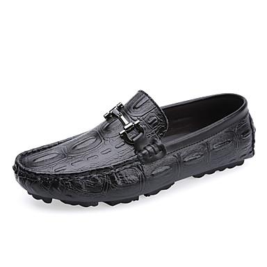 Erkek Ayakkabı Deri Bahar / Sonbahar Kış Günlük / İngiliz Mokasen & Bağcıksız Ayakkabılar Günlük / Ofis ve Kariyer için Siyah