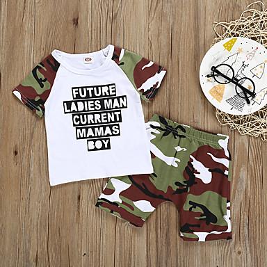 povoljno Odjeća za bebe Za dječake-Dijete Dječaci Osnovni Print Print Bez rukávů Regularna Pamuk Komplet odjeće Obala / Dijete koje je tek prohodalo