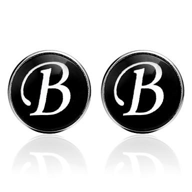 voordelige Herensieraden-Manchetknopen Alfabetvorm Formeel Vintage Broche Sieraden Zwart Zilver Bruin Voor Dagelijks Werk