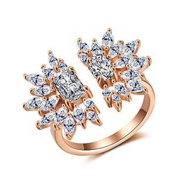 billige Motering-Dame Ring Åpne Ring Kubisk Zirkonium 1pc Gull Kobber Stilfull Kunstnerisk Fest Engasjement Smykker X-ring Kul