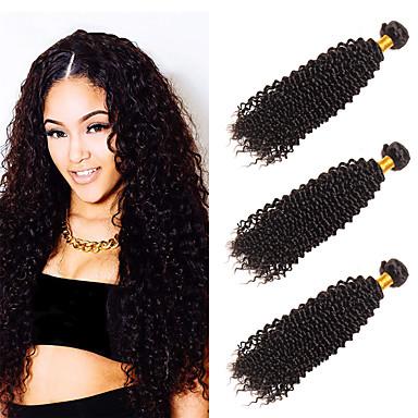 3 paquetes Cabello Peruano Kinky Curly Pelo Natural Sin Procesar Paquetes 100% Remy Hair Weave Tocados Tejidos Humanos Cabello Cabello Bundle 8-28 pulgada Natural Cabello humano teje Libre de Olores