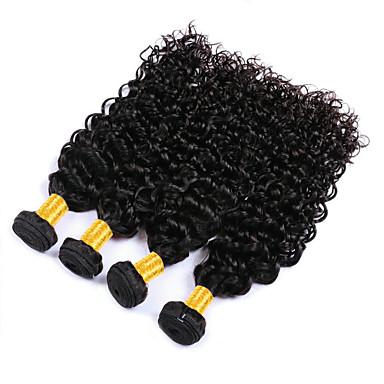 baratos Extensões de Cabelo Natural-4 pacotes Cabelo Brasileiro Onda de Água 100% Remy Hair Weave Bundles Cabelo Humano Ondulado Cabelo Bundle Extensões de Cabelo Natural 8-28 polegada Côr Natural Tramas de cabelo humano Criativo Venda