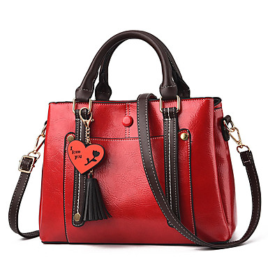 Women's Bags Polyester / PU(Polyurethane) Tote Feathers / Fur / Zipper Color Block Red / Blushing Pink / Yellow