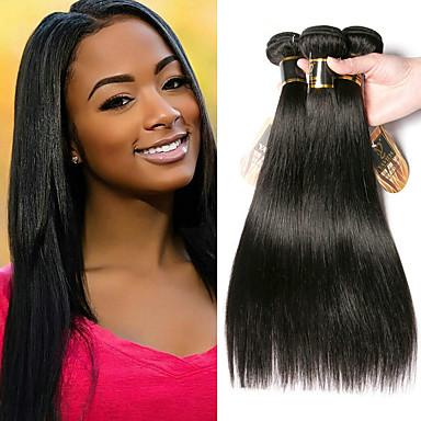 baratos Extensões de Cabelo Natural-3 pacotes Cabelo Mongol Liso 100% Remy Hair Weave Bundles Cabelo Humano Ondulado Cabelo Bundle Extensões de Cabelo Natural 8-28 polegada Côr Natural Tramas de cabelo humano Sem Cheiros Criativo