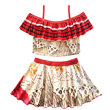 baratos Roupas de Banho para Meninas-Infantil Bébé Para Meninas Vintage Boho Estampado Estampado Manga Curta Roupa de Banho Vermelho