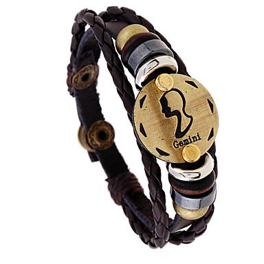 voordelige Herensieraden-Heren Vintage Armbanden Gevlochten Gemini Punk Leder Armband sieraden Koffie Voor Lahja Dagelijks