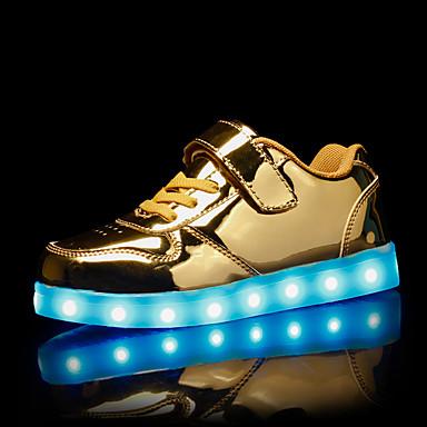 hesapli Kız Çocuk Ayakkabıları-Genç Kız PU Spor Ayakkabısı Küçük Çocuklar (4-7ys) / Büyük Çocuklar (7 yaş +) Işıklı Ayakkabılar Altın / Gümüş / Pembe Sonbahar