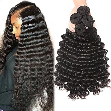 voordelige Weaves van echt haar-4 bundels Braziliaans haar Diepe Golf Onbehandeld haar Menselijk haar weeft Bundle Hair Extentions van mensenhaar 8-28 inch(es) Natuurlijke Kleur Menselijk haar weeft Geurvrij Hot Sale Voor donkere