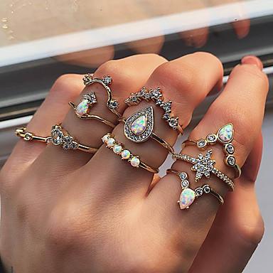 abordables Bague-Femme Bague Fantaisie Grosse / Bague de Phalange / Ensemble d'anneaux Bagues Zircon / Opale synthétique 10pcs Dorée Imitation Diamant / Alliage Luxe / Rétro Vintage / Tendance Cadeau / Quotidien