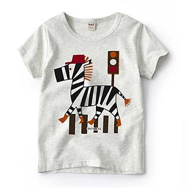 ราคาถูก เสื้อผ้าเด็กผู้ชาย-เด็ก เด็กผู้ชาย พื้นฐาน ลายพิมพ์ แขนสั้น ฝ้าย เสื้อยืด สีเทา
