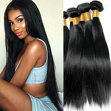 baratos Extensões de Cabelo Natural-6 pacotes Cabelo Brasileiro Liso 100% Remy Hair Weave Bundles Cabelo Humano Ondulado Cabelo Bundle Um Pacote de Solução 8-28 polegada Côr Natural Tramas de cabelo humano Simples Sem Cheiros Grossa
